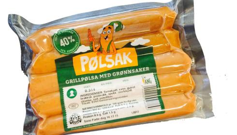 <strong>PØLSAK:</strong> Fra Oldemors Karjol til Meny - grønnsakspølsen Pølsak har hele 40% grønnsaker. Foto: PRODUSENTEN