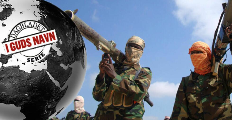AL-SHABAAB, SOMALIA:  Medlemmer av jihadistgruppen al-Shabaab holder med sine våpen i Somalias hovedstad Mogadishu i 2010. Grupppa har tidligere kontrollert store deler av Somalia, men har nå blitt presset ut i rurale områder av somaliske myndigheter og soldater fra Den afrikanske union (AU). Foto: Feisal Omar / Reuters / NTB Scanpix
