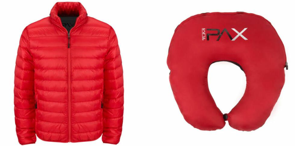 REISEJAKKE: Tumi's Patrol Travel Puffer Jacket er en hybrid mellom dunjakke og nakkestøtte. Foto: TUMI.COM