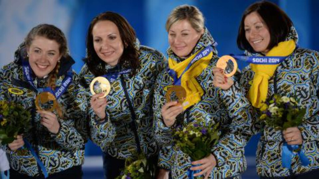 GULL-LAGET: Vita Semerenko, Juliya Dzhyma, Valj Semerenko og Olena Pidhrushna . Foto: AFP PHOTO / PETER PARKS
