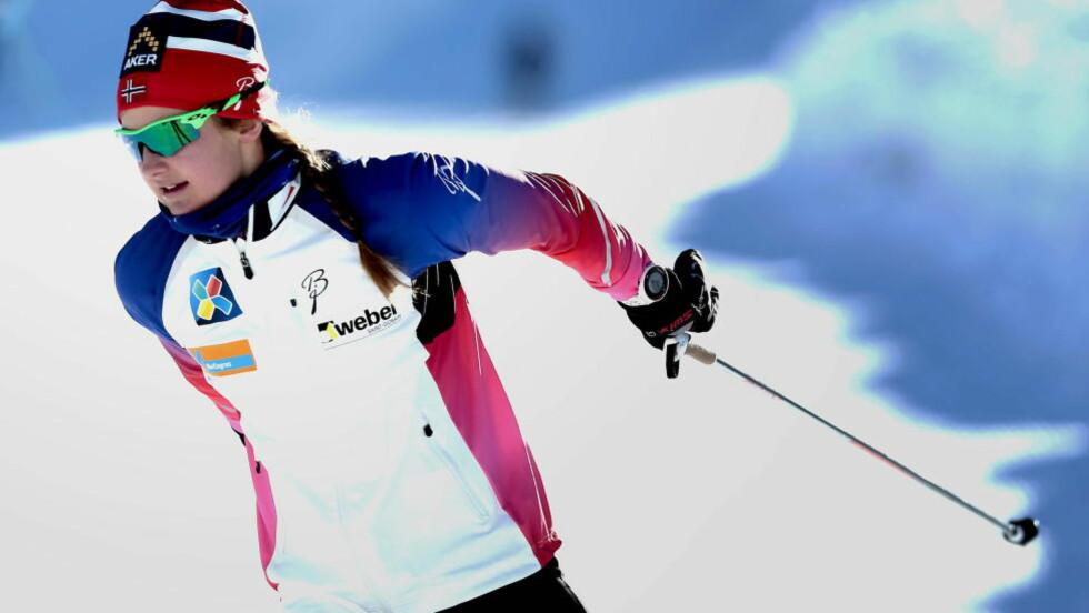 BEST PÅ FORMIDDAGEN:  Ingvild Flugstad Østberg får gå med trøye nummer 1 når kvinnnes finalerunder starter klokka 12. Foto: Bjørn Langsem