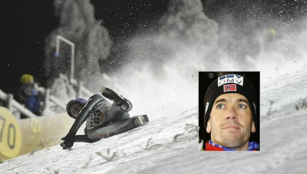 PÅ TRYNET: Anders Bardal (innfelt) og de andre norske gutta lar seg ikke påvirke spesielt mye når andre hoppere faller. I dag var Andreas Wellinger (bildet) en av to hoppere som falt stygg i Kuusamo. Begge foto: NTB Scanpix