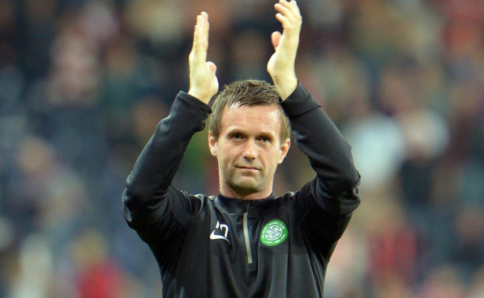 I FORM: Celtic og manager Ronny Deila vant 4-0 mot Hearts i den skotske FA-cupen. Foto: AP Photo/Kerstin Joensson