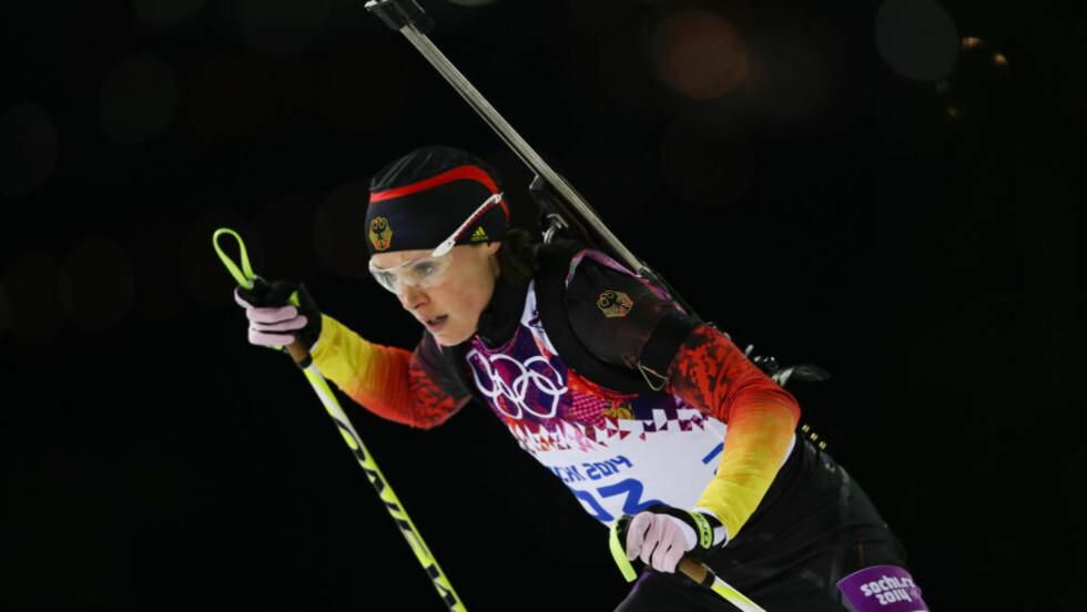SLUTTER:  Skiskytteren Evi Sachenbacher-Stehle har bestemt seg for å avslutte karrieren. Foto: AP Photo/Felipe Dana
