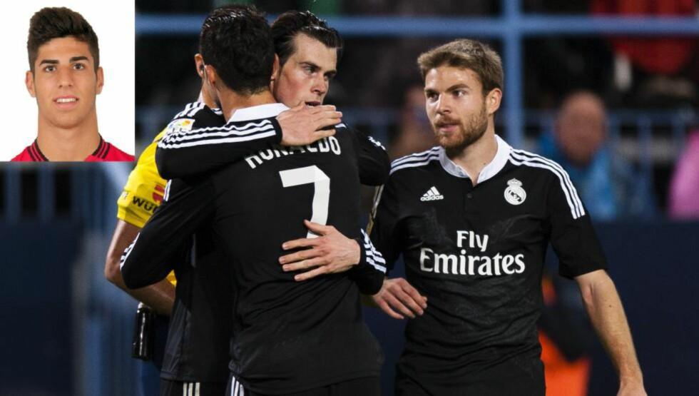 FÅR NY LAGKAMERAT: Real Madrid-gutta kan feire både at Gareth Bale kom på scoringslista mot Málaga på lørdag, og at klubben nå har sikret seg et nytt stortalent i Marco Asensio (til venstre). Bare formaliteter gjenstår, etter at spilleren selv bekreftet overgangen. Foto: Reuters/Jon Nazca/rcdmallorca.es