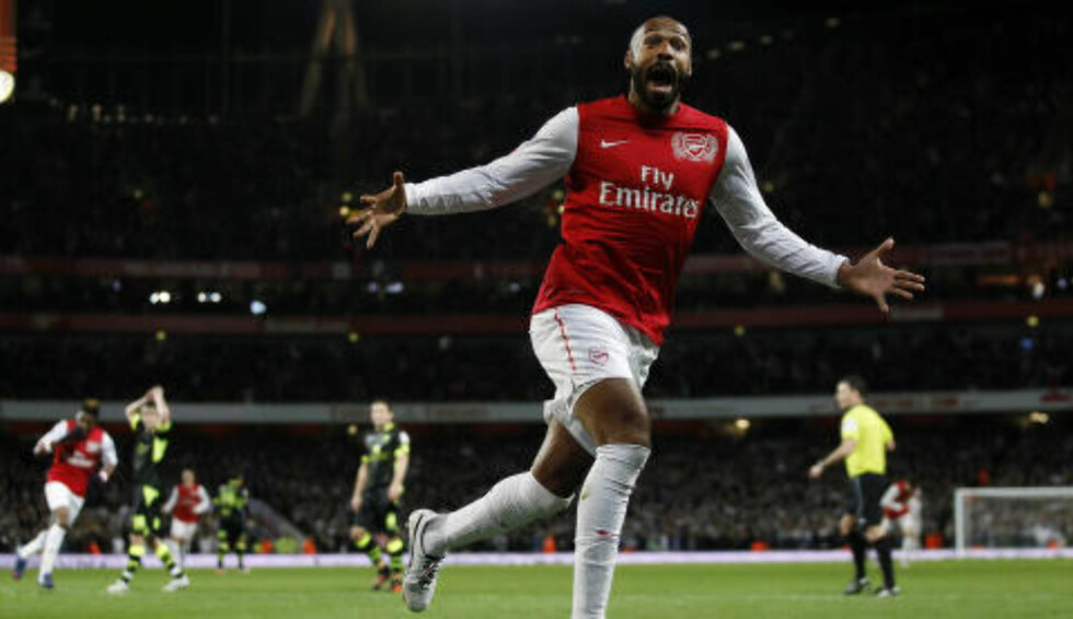 COMEBACKGOAL:  Thierry Henry var på et kort lån i gamleklubben Arsenal i 2012. Mot Leeds i FA-cupen ble han matchvinner. Foto: REUTERS/Eddie Keogh/NTB Scanpix.