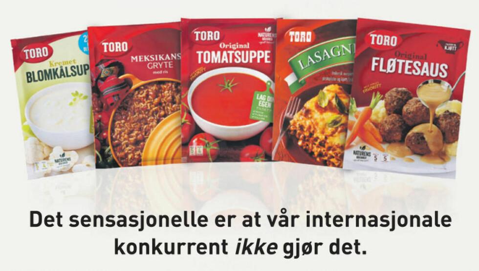 UTEN PALMEOLJE: Toro gjør et poeng av at de har sluttet med palmeolje i sine produkter, mens hovedkonkurrenten Knorr fortsetter å bruke fettet. Faksimile: Dagbladet