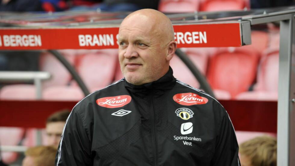 PRESENTERT: Aalesunds nye hovedtrener Harald Aabrekk (58) lover fansen underholdende fotball neste sesong. Foto: Marit Hommedal / Scanpix