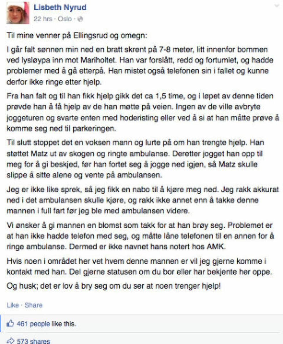 <strong>ENKEL APPELL:</strong> Mamma Lisbeth Nyrud synes det er leit at ingen stoppet da sønnen hadde skadet seg og trengte hjelp. Hun la ut dette innlegget på Facebook. Skjermdump: Facebook