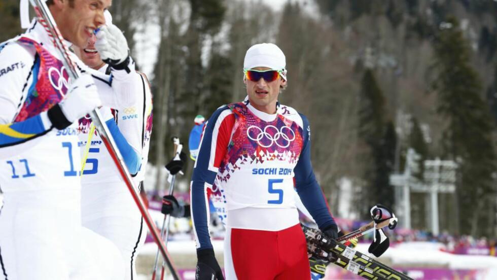 RIVALER: Marcus Hellner og Petter Northug har hatt mange dueller i skisporet, og i vinter er det ski-VM i Falun. Marcus Hellner forteller til Expressen at han til tider kan bli litt lei av å måtte snakke om Northug. Foto: Heiko Junge / NTB Scanpix