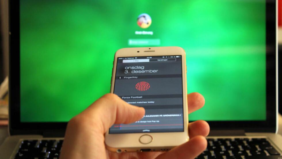 ENKLERE OPPLÅSING? Med FingerKey trenger du ikke skrive inn passordet når du skal låse opp datamaskinen din.  Foto: KIRSTI ØSTVANG / DINSIDE.NO