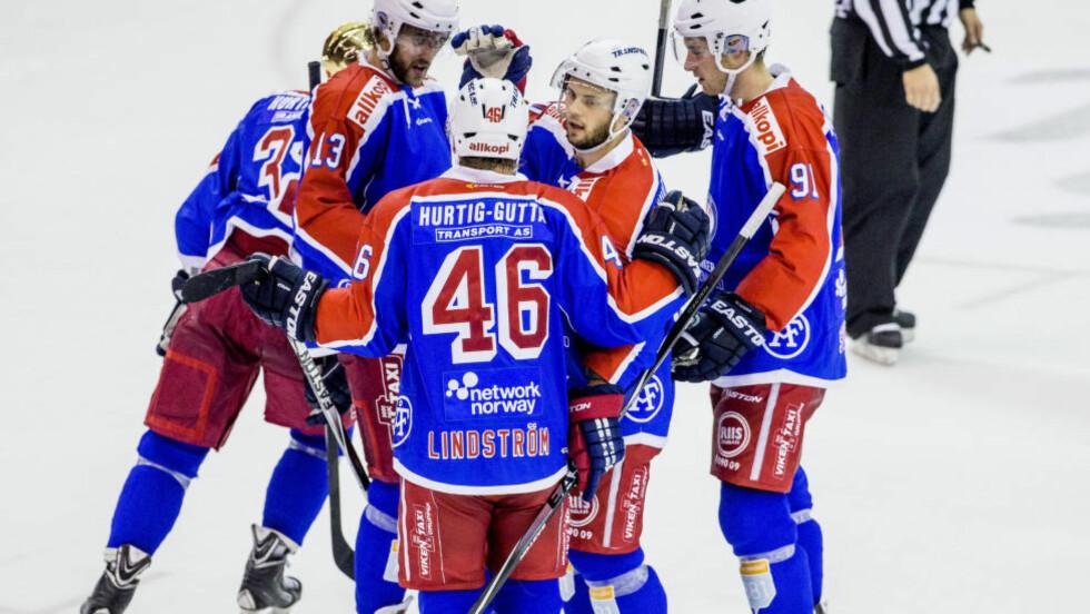 SEIER: Vålerenga vaker midt på tabellen, men fikk en skikkelig opptur i 8-4-seieren borte mot Lillehammer i ishockeyens eliteserie torsdag. Foto: Stian Lysberg Solum / NTB scanpix