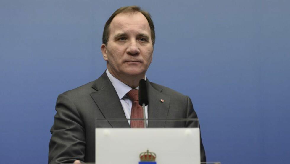 PRESSET: Statsminister Stefan Löfven i Sverige. Foto: Pontus Lundahl / NTB scanpix