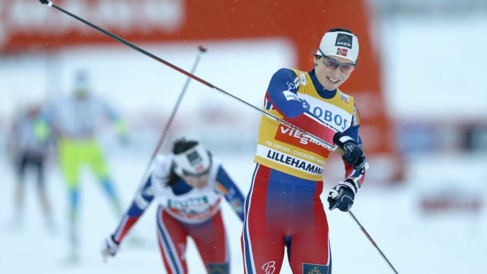 I EN EGEN KLASSE: Marit Bjørgen var raskest fra prolog til finale på Lillehammer i går. Nå innrømmer hun overfor Dagbladet at hun har blitt raskere i sprint denne sesongen. Til konkurrentenes store fortvilelse.Foto: Terje Pedersen / NTB scanpix