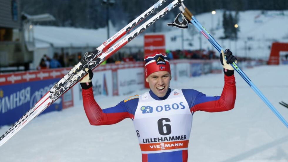 VANT: Pål Golberg viste seg som den sterkeste herresprinteren på Lillehammer - der han bor og ofte trener i dagens løper.  Foto: Terje Pedersen / NTB scanpix