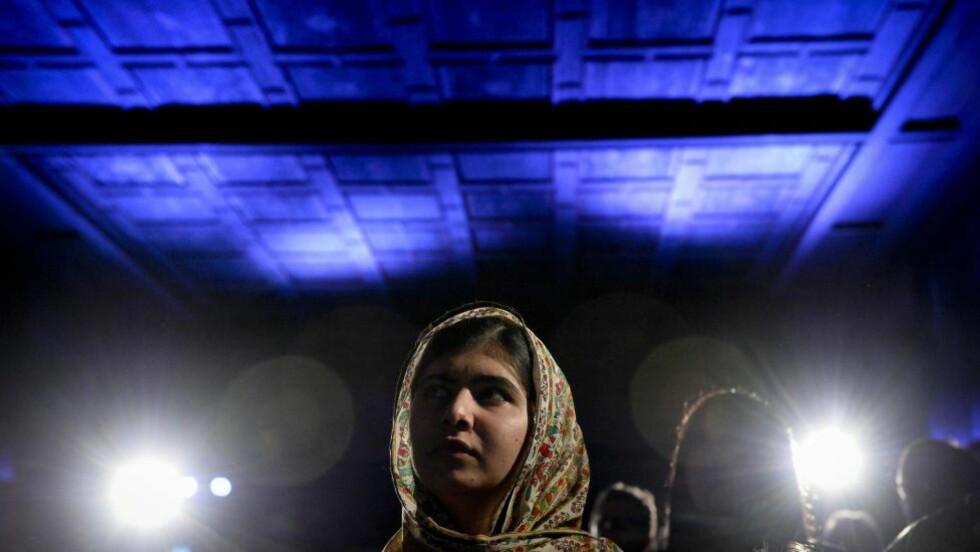 YNGSTE FREDSPRISVINNER:  Denne uka får 17-årige Malala Yousafzai utdelt Nobels fredspris, som tidenes yngste vinner. Foto: Jonathan Nackstrand / AFP / NTB Scanpix