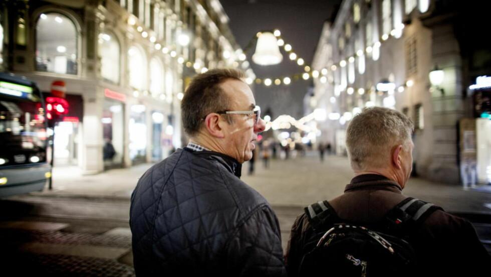 KONTRASPANING: Privatetterforskerne Oddleif Sveinungsen (t.v.) og Terje Horslund har under årets julebordssesong hatt flere oppdrag med kontraspaning. Da er målet å avdekke om deres klient blir overvåket av utroskapsspanere. Foto: Sveinung U. Ystad, Dagbladet