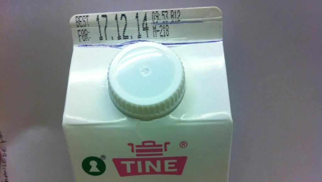 Tine tilbakekaller skummetmelk merket med best før-dato 17. 12.14, tappet mellom 09:57 og 10.15, og M-218. Foto: Tine