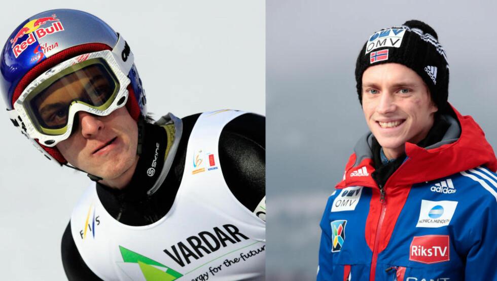 STO ALENE PÅ TOPPEN: Gregor Schlierenzauer (til venstre) og Anders Fannemel. FOTO: NTB SCANPIX