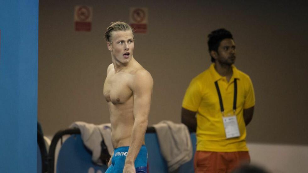 VM-FINALE: Lavrans Solli i VM-finalen på 50 meter rygg.           Foto: JESSICA GOW / NTB scanpix