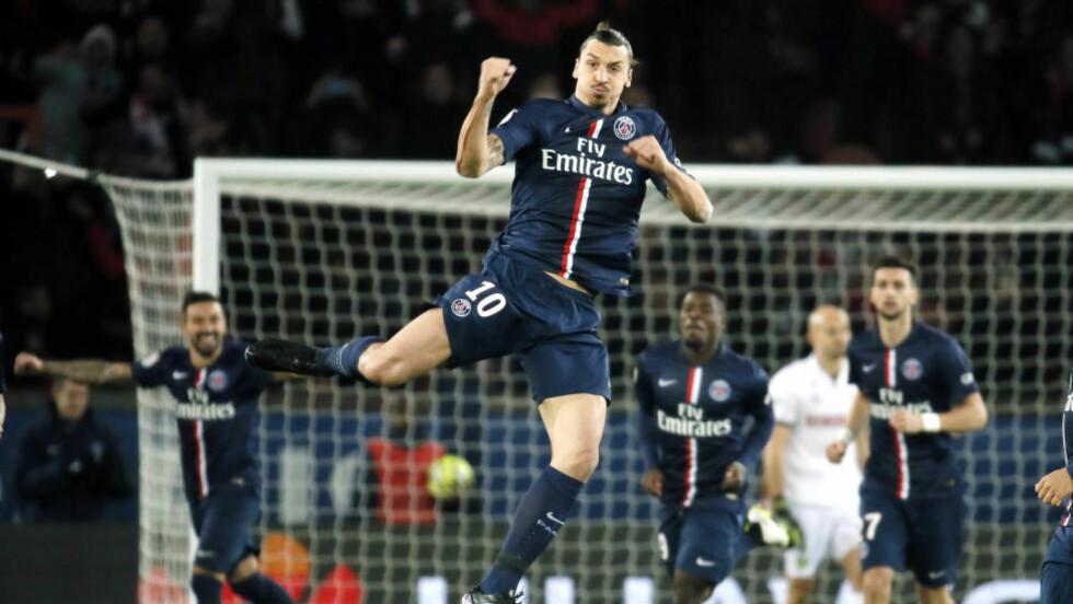 TO PINNER:  Zlatan Ibrahimovic scoret begge målene da PSG slo Nantes. Foto: REUTERS/Gonzalo Fuentes/NTB Scanpix.