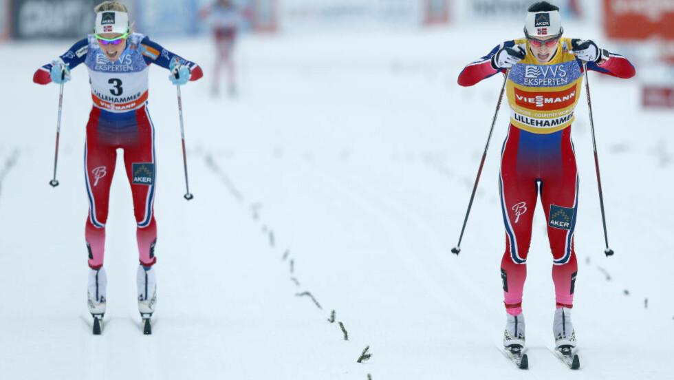 SPURT Johaug tapte spurten for Bjørgen i Lillehammer. Foto: NTB Scanpix