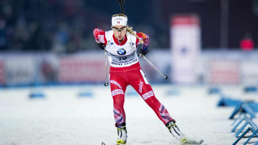INGEN PALLPLASS: Tiril Eckhoff klarte ikke å følge opp gårsdagens seiersløp, og med sju strafferunder ble hun nummer seks på dagens jaktstart. Foto:  REUTERS/Marcus Ericsson/TT News Agency / NTB Scanpix