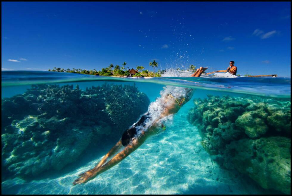 TROPEIDYLL: Ei øyegruppe utenfor Tahiti skulle bli symbolet på Marlon Brandos beste år - og hans verste. Nå er Tetiaroa blitt åsted for et selvforsynende luksushotell. Foto: Éric Martin