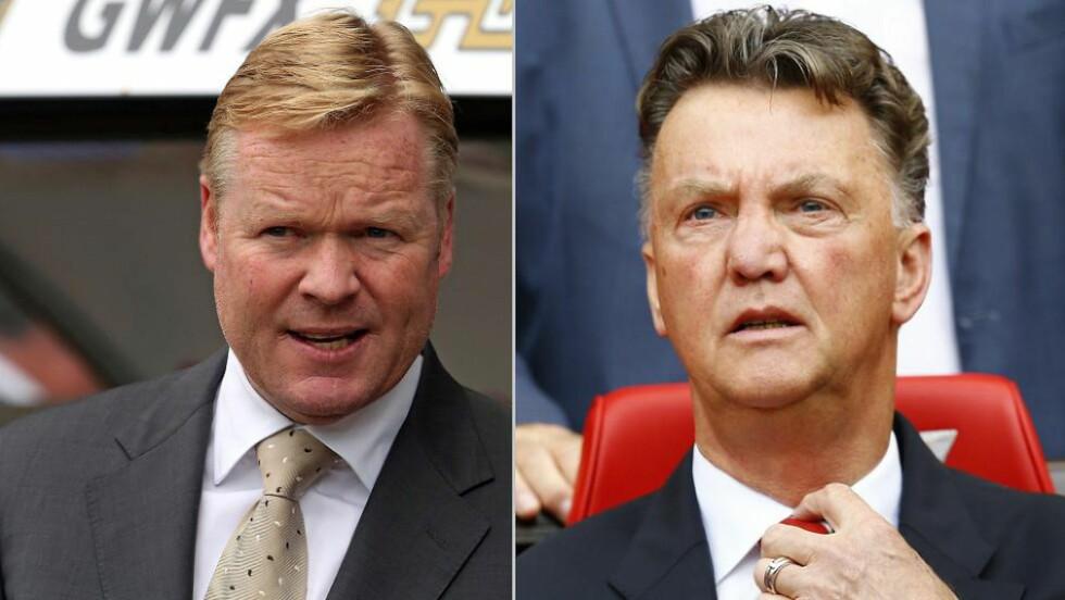 BITRE FIENDER: En gang i tida var de nære venner og jobbet tett, men så forandret alt seg. I kveld møtes Ronald Koeman (t.v.) og Louis van Gaal som sjef for hvert sitt Premier League-lag. Begge foto: NTB Scanpix
