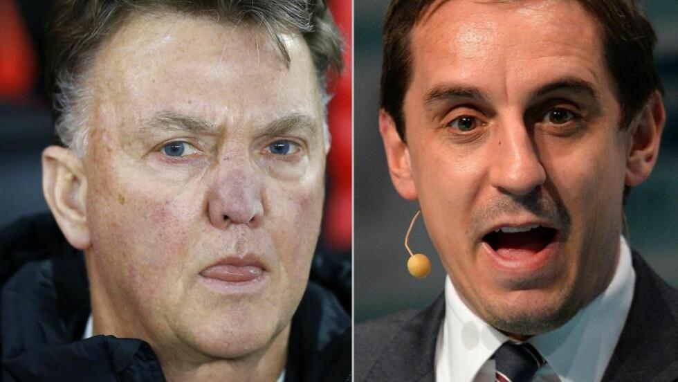 ULIKT SYN: Manchester United-sjef Louis Van Gaal er alt annet fornøyd med Gary Nevilles kommentarer om klubben. Begge foto: NTB Scanpix