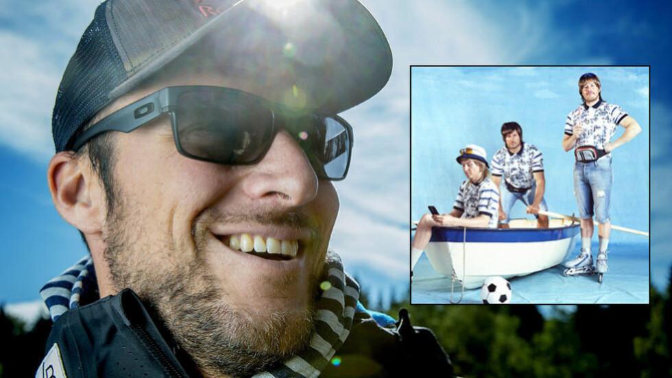 OVERRASKET: Aksel Lund Svindal sier at han ikke var klar over at Telenor-reklamen gikk på TV før han så den selv etter å ha returnert fra Italia og Østerrike i forrige uke. Foto: Bjørn Langsem / Dagbladet. Faksimile: Telenor