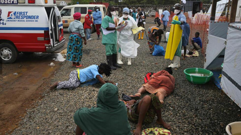 BEHANDLET EBOLA-SYKE: Lege Gunnar Hasle (med hvit operasjonsfrakk) utenfor mottagelsen paa MSFs sykehus i Monrovia.  Noen pasienter kommer selv gående, andre med ambulanser eller andre biler. Foto: MSF