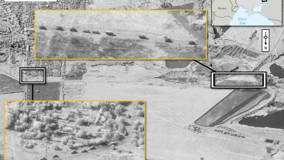 BILDEBEVIS: Nato offentliggjorde i dag satellitbilder som de mener viser russiske artilleri-styrker inne på ukrainsk territorium. Bildet er datert 21. august. Foto:  EPA/NATO / DIGITALGLOBE / HANDOUT