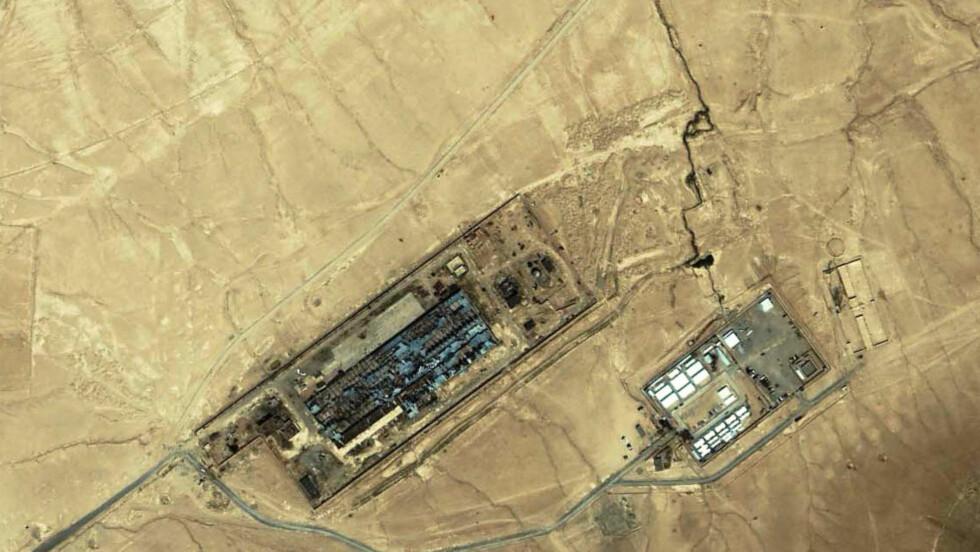 «SALTGRUVA»: Dette satellitt-bildet fra 2005 skal vise CIA-basen som ble kalt «saltgruva». Foto: AFP / SPACE IMAGING / NTB scanpix