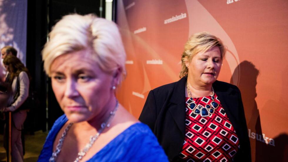 STYRKEFORSKJELL: Siv Jensens Frp krymper på målingene, men Erna Solbergs Høyre er i framgang. Foto: Christian Roth Christensen / Dagbladet