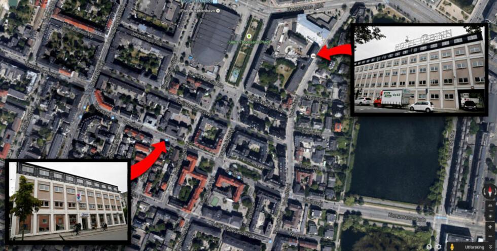 OVERBEVISENDE: TV 2s bevis for at Jan Wiborg må ha begått selvmord på Cabinn Express Hotel (nede til venstre), skal ha ført til at mange norske journalister droppet videre graving i saken. Men TV 2 var i virkeligheten på et annet hotell (oppe til høyre), 550 meter unna. Foto: Goodle Maps / Kristian Ridder-Nielsen.