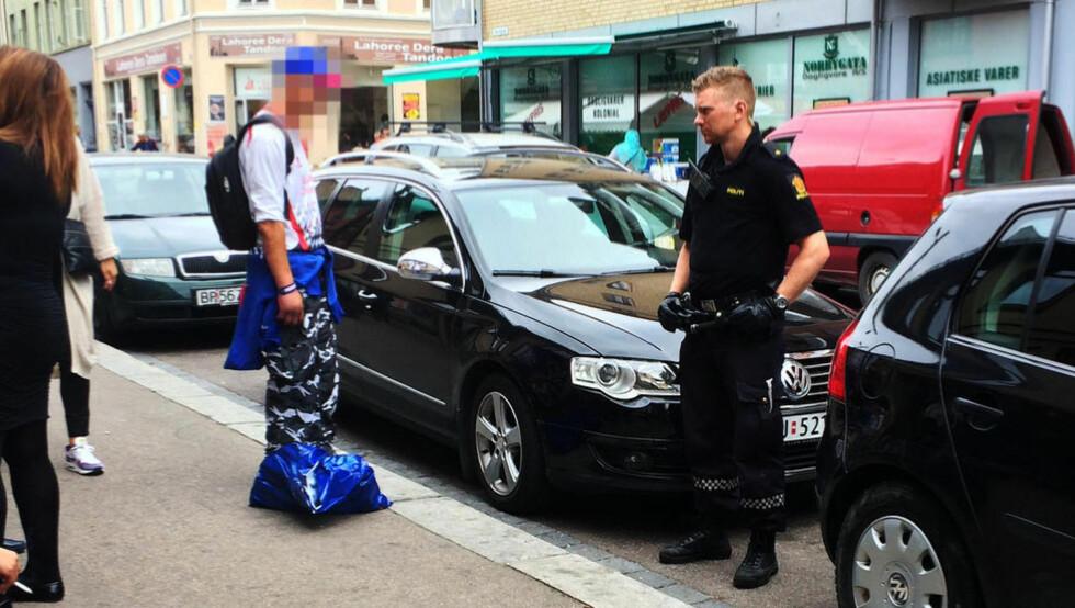 I ARRESTEN: Guttens foreldre ringte politiet, som raskt kom til stedet og innbrakte mannen. Foto: HARALD S. KLUNGTVEIT / DAGBLADET