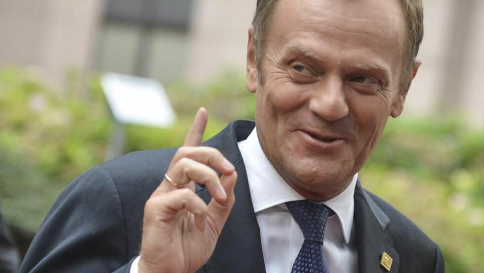 NY EU-PRESIDENT: Polens statsminister Donald Tusk.  EPA/STEPHANIE LECOCQ