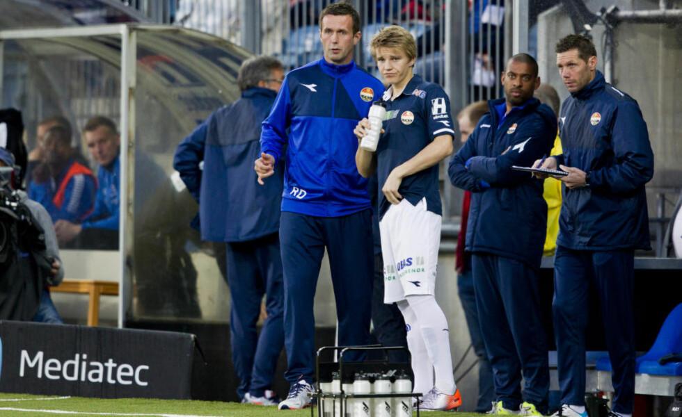 GJENFORENES? Ronny Deila ga Martin Ødegaard Strømsgodset-debuten. Nå skal han forsøke å hente den ettertraktede unggutten til Skottland. Foto: Vegard Grøtt / NTB Scanpix