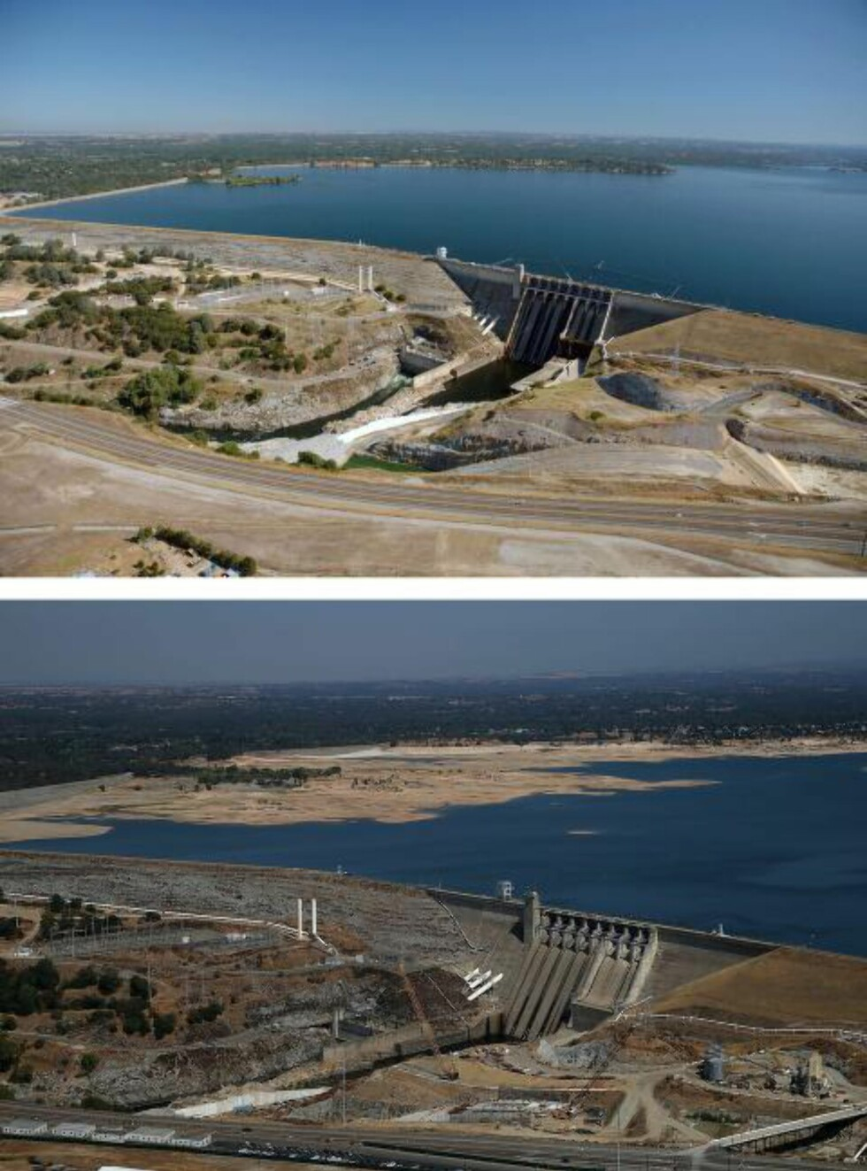 FOLSOM: Bildene viser Folsom-dammen i henholdsvis juli 2011 og august 2014.Foto: Justin Sullivan/Getty Images/AFP/NTB Scanpix