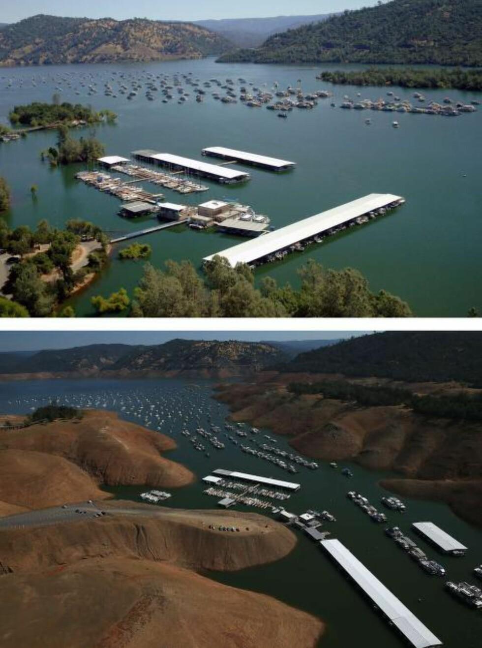 SUNKET: Det øverste bildet viser vannstanden i Oroville-innsjøen i juli 2011. Det nederste viser den samme plassen august i år. Vannmengdene har sunket betraktelig, mens jordoverflaten har steget. Foto: Justin Sullivan/Getty Images/AFP/NTB Scanpix