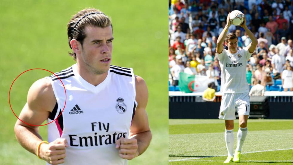 STOR FORANDING:  Bildet til høyre ble tatt da Gareth Bale ble presentert som Real Madrid-spiller. Det andre er fra Reals treningsleir i sommer. Foto: NTB Scanpix