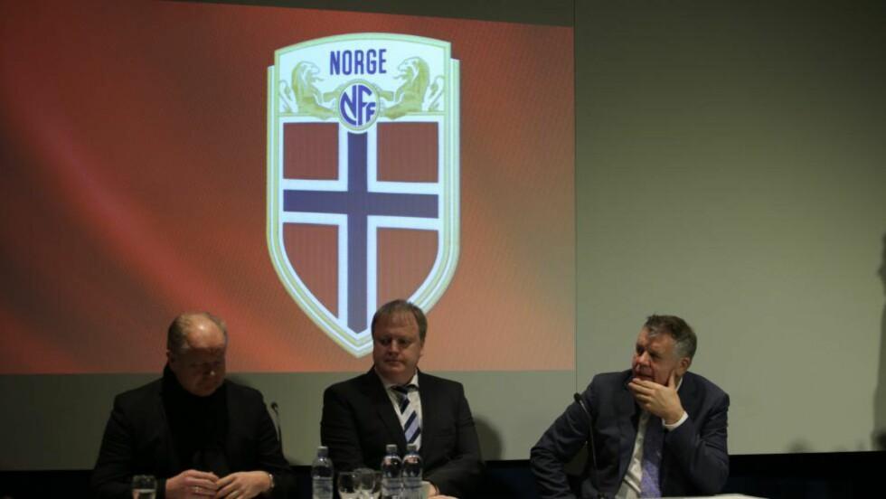 NYTT EMBLEM. Norges fotballforbund (NFF) presenterer ny logo og nytt design for  landslagsdrakten på Ullevaal stadion fredag formiddag. Foto: Audun Braastad / NTB scanpix