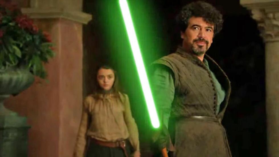 GOD OGSÅ MED LYSSVERD? Miltos Yerolemou er kanskje best kjent for rollen som Syrio Forel - Arya Starks sverdlæremester i «Game of Thrones». Nå blir han også å se i den kommende «Star Wars»-filmen. Her et stillbilde fra en fanlaget mashup av de to universene. Foto: Youtube-bruker Lucas Bogo