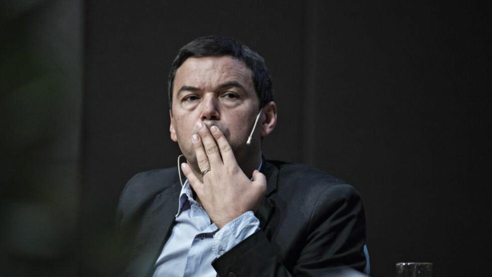 STJERNEØKONOM: Thomas Piketty holdt foredrag i Universitetets Aula. Foto : Hans Arne Vedlog  / Dagbladet