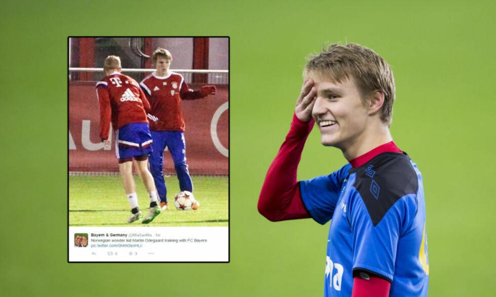 I TYSKLAND: Martin Ødegaard har vært på Bayerns treningsfelt de siste dagene. Foto: NTB Scanpix og skjermdump: Twitter