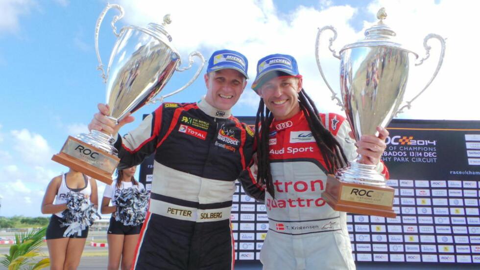 LAGSEIER: Petter Solberg (t.v.) og danske Tom Kristensen vant lørdag billøpet Race of Champions for lag på Barbados. Foto: Per-Espen Løchen / NTB Scanpix