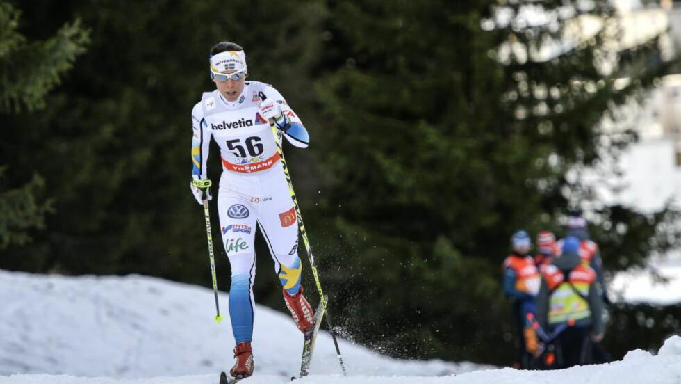 HADDE IKKE MER Å GI:  Charlotte Kalla ble nummer femten på gårsdagens tikilometer.          Foto: ANDERS WIKLUND / TT / NTB scanpix