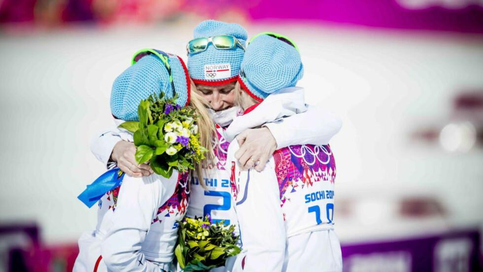 TRE OM DET: Therese Johaug, Marit Bjørgen og Kristin størmer Steira dro hverandre til OL-mealjene på tremila i Sotsji. Det var også Marits tredje OL-gull i lekene.Foto: Thomas Rasmus Skaug / Dagbladet