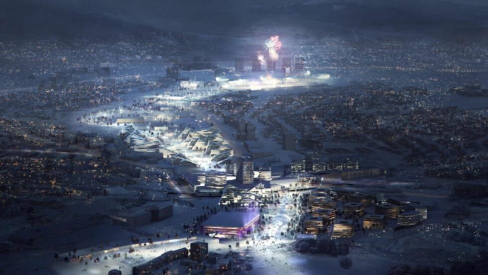 IKKE SOM ØNSKET: Det planlagte OL-konseptet kalt «Games in the City» er i ferd med å utvannes, i hvert fal med Oslo-øyne. Illustrasjon: Oslo2022 / Snøhetta / Cowi / MIR